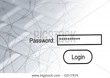 Internet security concept showing computer, barbed wire and password login.