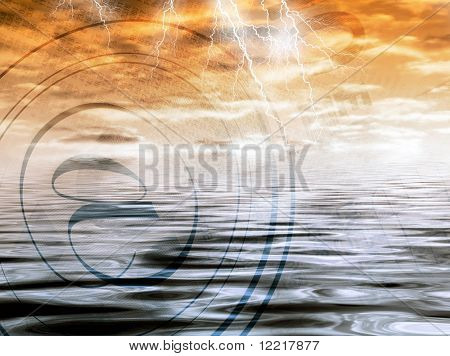 Combined image of financial concept with stormy weather
