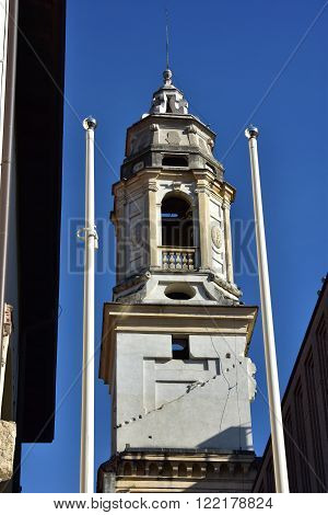 Belfry of St Sebastian the only surviving part of this deconsecrated church with Jesus symbol. Now in the Verona Civic Library.