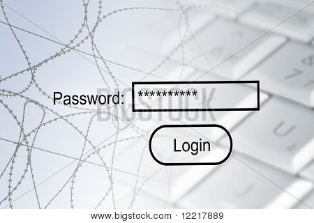 Internet security concept showing barbed wire, computer and password login