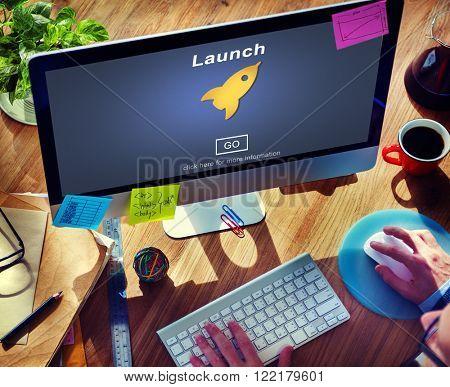 Launch Start Brand Introduce Rocket Ship Concept