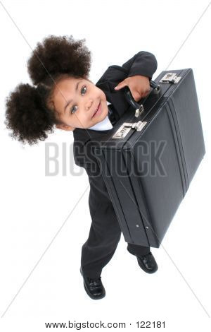 Beautiful Little Business Woman With Briefcase