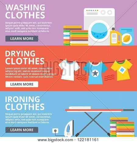 Washing clothes, drying clothes, ironing clothes flat illustration set. Creative flat design elements, concepts for web sites, web banners, printed materials, infographics. Modern vector illustration