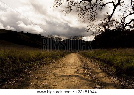 Dark and Stormy Path / A stormy sky looms above a long path