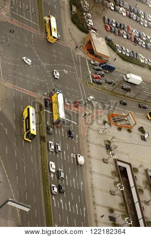 BERLIN, GERMANY - APRIL 08: The aerial view of infrastructure and road traffic at the intersection Messedamm and Neue Kantstrasse in the Berlin district of Charlottenburg on April 08 2015 in Berlin.