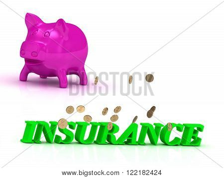 INSURANCE Name and Family bright word pink piggy on white background