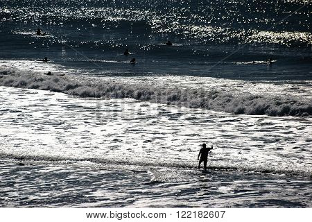 The silhouettes of surfers on the water against the light.