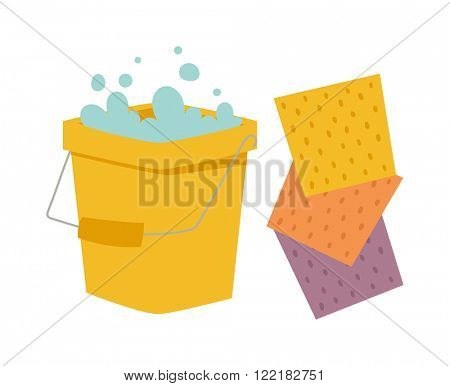 Yellow cleaning bucket with cloth, cleaning bucket house sanitary equipment vector - bucket and cloth for cleaning housework flat vector illustration isolated on white.