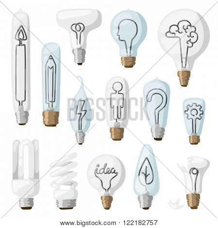 Creative idea inspiration lamps vector and solution creative idea lamps icon set. Creative idea lamps vector illustration.