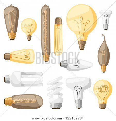Cartoon lamps electric and bright cartoon interior lamps flat vector. Cartoon lamps light bulb electricity design flat vector illustration.