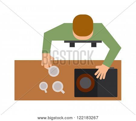 Workplace office process concept and web style modern digital office workplace. Workplace office with man top view flat vector illustration.