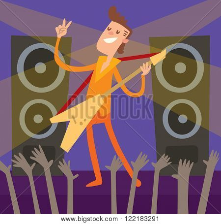 Concert young artist, music stage and night concert music stage vector. Young Artist of concert crowd in front of bright music stage lights vector illustration.