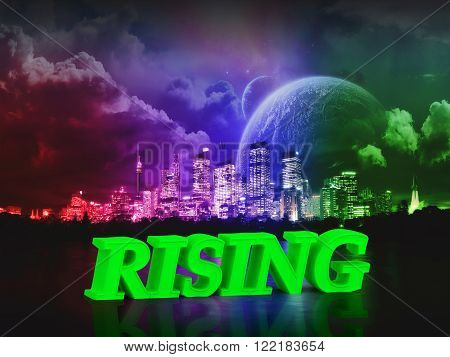 RISING bright word night sky town moon river on white background