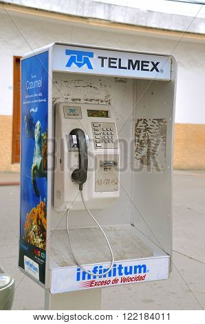 COSTA MAYA, MEXICO-February 17, 2016: Telmex is a Mexican telecommunications company headquartered in Mexico City that provides telecommunications products and services in Mexico