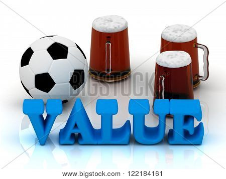 VALUE bright word football 3 cup beer on white background