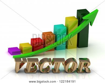 VECTOR bright of gold letters and Graphic growth and green arrows on white background