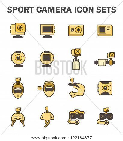 Sport camera and accessory icon sets on white.