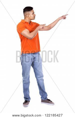 Handsome Casual Man Pointing