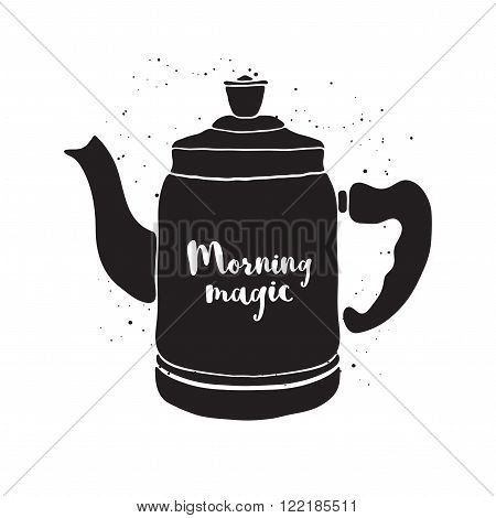 Hand drawn pot with lettering Morning magic. Black and white vector illustration with teapot. Pot vector icon. Isolated teapot. Pot of tea. Monochrome vector teapot on white background.