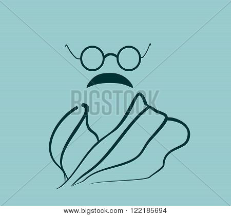 Glasses and mustache. Stylized Simple Flat Style Portrait of Gandhi