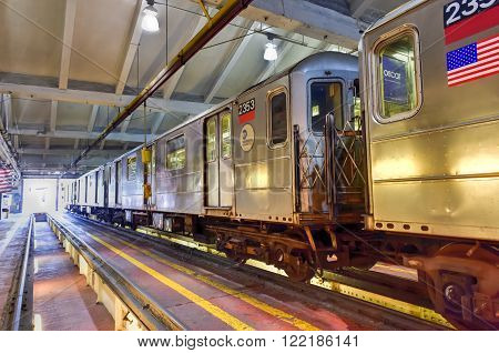 Bronx New York - January 31 2016: 240th Street Train Yard (Van Cortlandt Yard) for maintenance of trains.