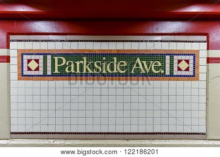 Brooklyn, New York - March 13, 2016: Parkside Avenue Subway Station in Brooklyn New York. A part of the New York City Subway system along the Q line in the Prospect Park neighborhood.