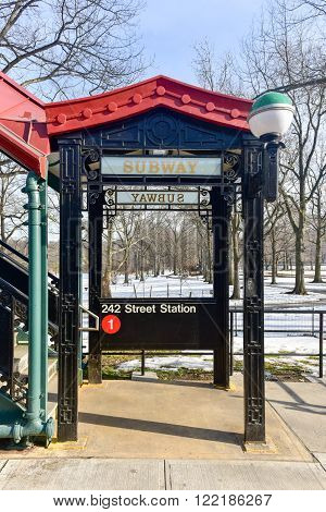 Bronx, New York - January 31, 2016: MTA 242 Street Station Van Cortlandt Park in the New York City Subway System. It is the terminus of the 1 train line in the Bronx.
