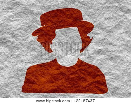 Vintage woman in hat silhouette. Crumpled paper textured