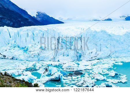 View of Perito Moreno Glacier at Argentino lake in Argentinian Patagonia Argentina