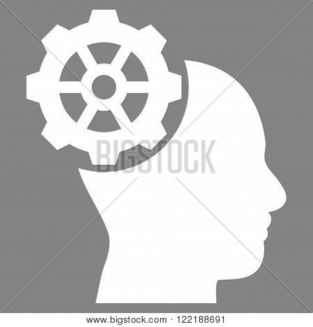 Head Gear vector icon. Picture style is flat head gear icon drawn with white color on a gray background.