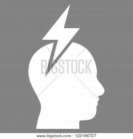 Migraine vector icon. Picture style is flat headache icon drawn with white color on a gray background.