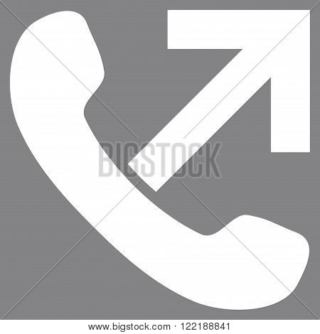 Outgoing Call vector icon. Picture style is flat outgoing call icon drawn with white color on a gray background.