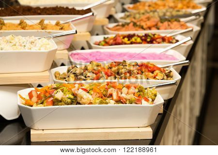 tray of assorted food for salad buffet