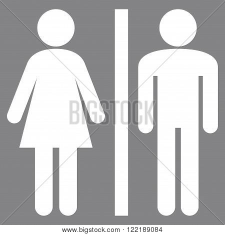 Restroom Persons vector icon. Picture style is flat WC persons icon drawn with white color on a gray background.