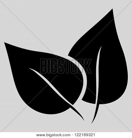 Flora Plant vector icon. Picture style is flat flora plant icon drawn with black color on a light gray background.