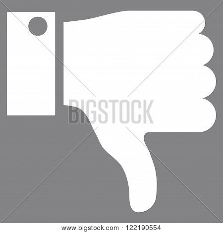 Thumb Down vector icon. Picture style is flat thumb down icon drawn with white color on a gray background.