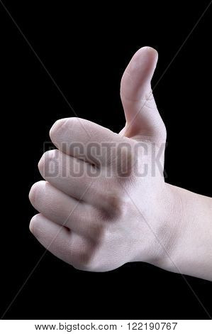 approval Hand gesture on a black background