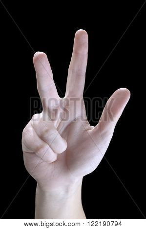 Sign Language hands on a black background three