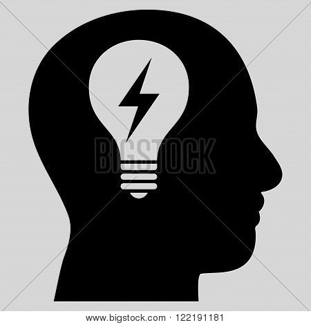 Head Bulb vector icon. Picture style is flat head bulb icon drawn with black color on a light gray background.