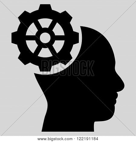 Head Gear vector icon. Picture style is flat head gear icon drawn with black color on a light gray background.