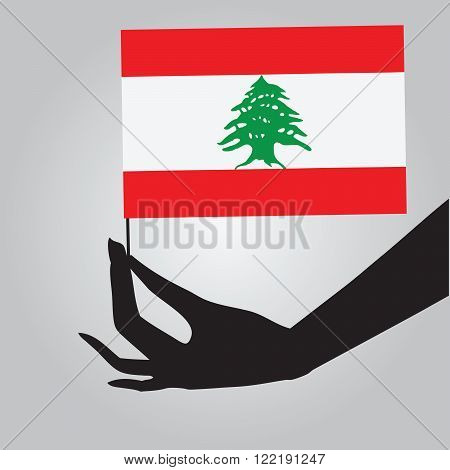 Flag of Lebanon in a female hand. Vector illustration.
