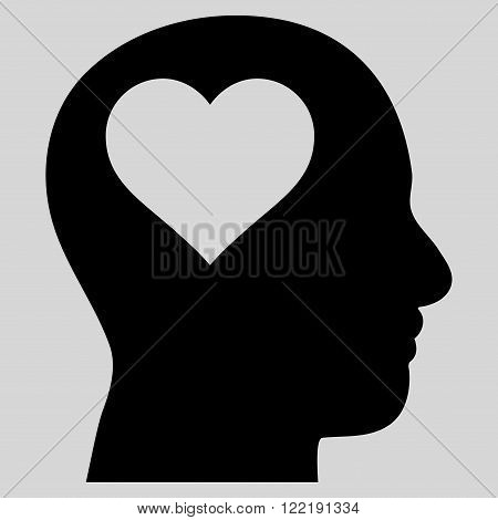 Lover Head vector icon. Picture style is flat lover head icon drawn with black color on a light gray background.