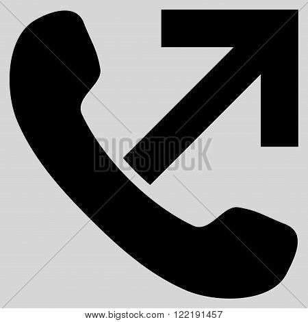 Outgoing Call vector icon. Picture style is flat outgoing call icon drawn with black color on a light gray background.