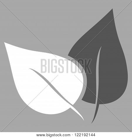 Flora Plant vector icon. Picture style is bicolor flat flora plant icon drawn with dark gray and white colors on a silver background.