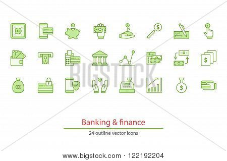 Outline vector icons on a white background. Money, finance, payments.
