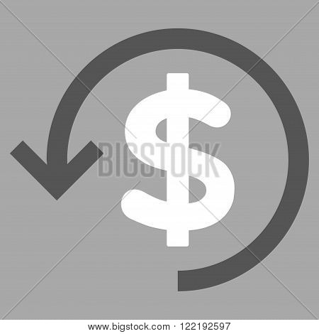 Refund vector icon. Picture style is bicolor flat refund icon drawn with dark gray and white colors on a silver background.