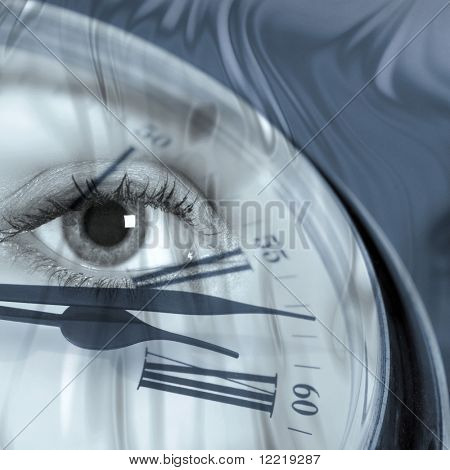 Closeup of clock face overlaid with female eye
