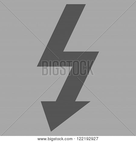 High Voltage vector icon. Picture style is flat high voltage icon drawn with dark gray color on a silver background.