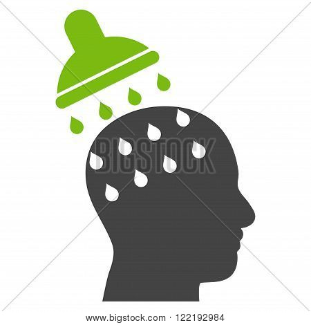 Brain Washing vector icon. Picture style is bicolor flat brain washing icon drawn with eco green and gray colors on a white background.