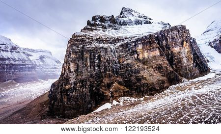 View of Mount Lefroy and Lefroy Glacier from the top of the hiking trail to Plain of Six Glaciers in Banff National Park in the Canadian Rocky Mountains